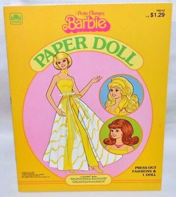 New-1981 Golden Book-Pretty Changes Barbie Paper Doll-1 Doll- 25 Fashions + Case