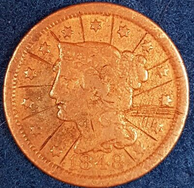 1848 American Large Cent  ID #53-7
