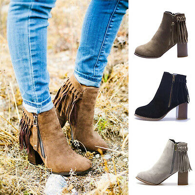 NEW Womens Ladies Fashion Tassels Zip Up Ankle Boots Mid High Block Heels Shoes