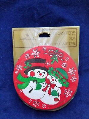 Vintage Snowman Hallmark Drink Coasters 16 Sealed Package Holiday Christmas