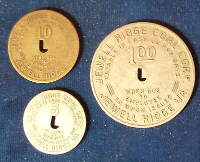 (3) Jewell Ridge Coal Corp. Scrip, 5 and 10 Cents, $1, Virginia