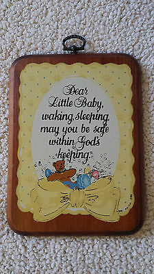 Vintage Wall Hanging Plaque, Baby Room Decor