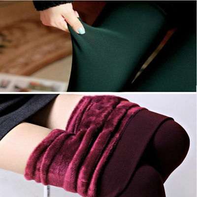 Women's Solid Winter Thick Warm Fleece Lined Thermal Stretchy Leggings Pants KY
