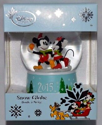 New-Disney Store Exclusive 2015 Snowglobe-Mickey & Minnie With Gift Ice Skating