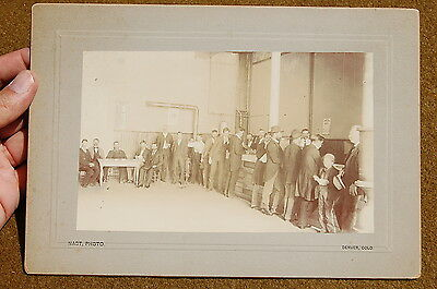 1890 era GREAT Cabinet Card Photo of a SOUP KITCHEN Denver Colorado PUBLISHED!!!