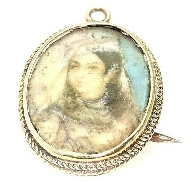 Unique authentic Vintage Miniature Painting - 9ct Gold surround Pendant/Brooch