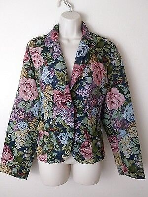 Crazy Horse Floral Carpetbag Tapestry Brocade Granny Chic Blazer Jacket~XL~90s
