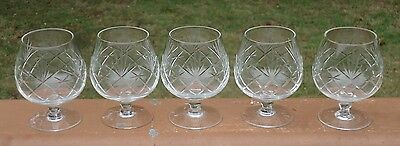 Lovely Vintage Etched Diamond & Pineapple Cut Glass Brandy Balloon Glasses x 5