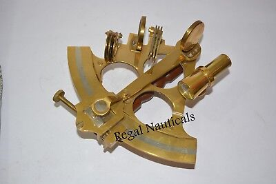 """7"""" Solid Brass Sextant Nautical Marine Instrument Astrolabe Ships Maritime Gift"""