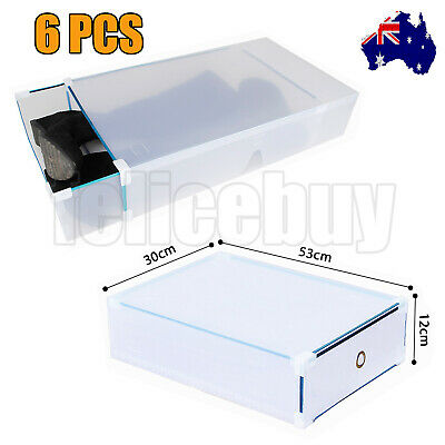 6PCS Extra Large Long Boot Clear Plastic See Through Drawer Shoe Storage Box