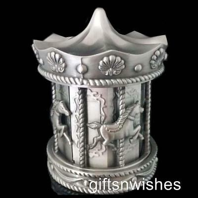 Beautiful Pewter Carousel Money Box Baby Shower Christening