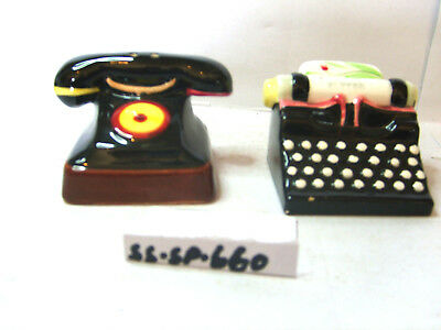 telephone and typewriter salt and pepper shakers