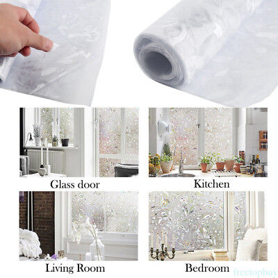 Privacy Static Cling Cover 3D Floral Frosted Window Glass Film Home Decor OD92