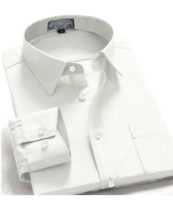 Oxford Men's Regular Fit Long Sleeve Button-Front One Pocket Shirt White