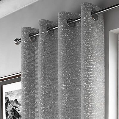 """Glitter Sparkle Ring Top Voile Curtain Panel - Silver (Adele 55"""" W x 54"""" D)"""