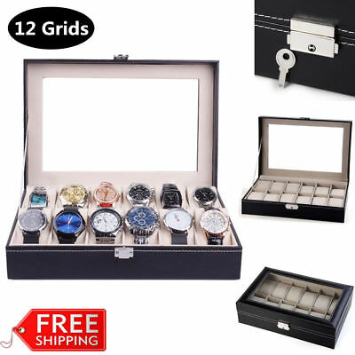 6 Grids Faux Leather Watch Display Box Collection Storage Organizer Glass Top UK