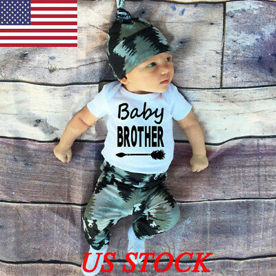 3pcs Newborn Baby Long Sleeves Clothes Romper Pants Hat Boy Girl Outfit Playsuit