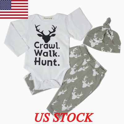 Christmas Deer Set Newborn Baby Boys Girls Romper Long Pants Hat Outfits Clothes