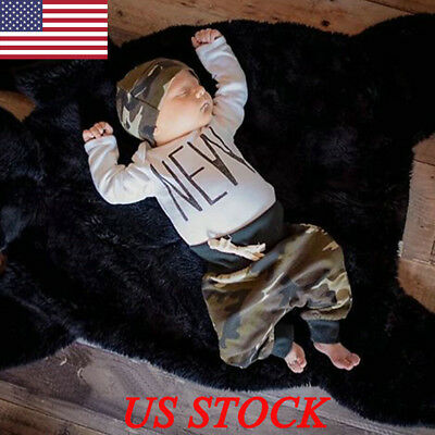Newborn Baby Boys Girls Top T-Shirt Romper Pants Bodysuit Outfit Set Clothe Suit