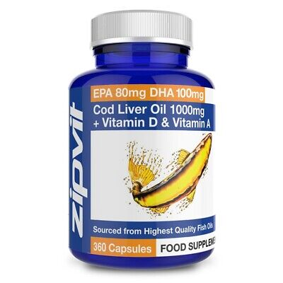 Cod Liver Oil Capsules - 1000mg - Highest Purity, By Zipvit
