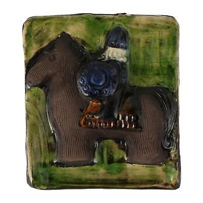 A small vintage Scandinavian pottery wall plaque Horse Viking ?
