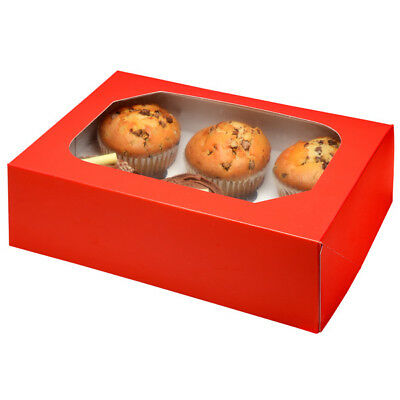 Red Glossy Cupcake Muffin Box & Insert - 6 Cup Cakes - Club Green
