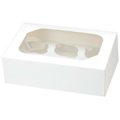 2 x White Glossy Cupcake Muffin Boxes & Insert 6 Cup Cakes per Box - Club Green