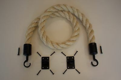 36mm Barrier Rope System Decking Rope Black Fittings Hooks & Plates 1 Meter Long