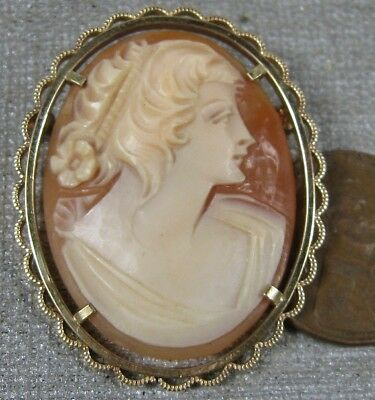 Vintage 1940's-50's Cameo Pin Gold Filled Nice Carved Lady Krementz