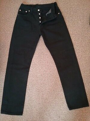 Levi's 501 ladies 1990 era button fly jeans. Black. Heavyweight denim.