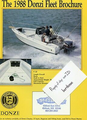 Vintage 1988 Donzi Fleet Brochure Fold-out Poster