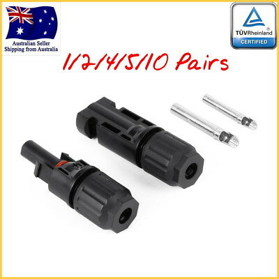 1/2/4/5/10 Pairs MC4 Male + Female Connectors DC 1000V TUV for Solar PV Cables