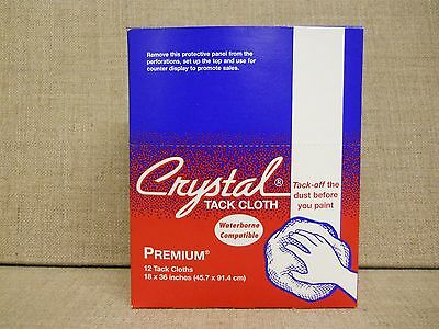 ~ CRYSTAL PREMIUM TACK CLOTHS ~ Box Of 12 ~ 18 x 36 inches ~ Leaves No Residue ~