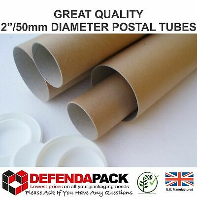 """5 x 1320mm 52"""" x 2"""" 50mm EXTRA LONG CARDBOARD POSTAL TUBES Mailing Posters ART"""