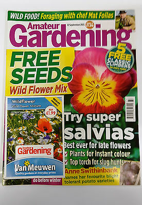 Amateur Gardening Magazine Sept 2015 with Free Wildflower Seeds