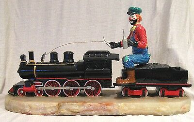 "Huge Ron Lee 20"" Hobo Clown Riding a Train Engine Signed by Ron Lee Low LE #"