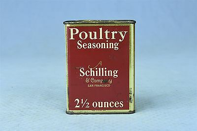 Vintage 1933 SCHILLING POULTRY SEASONING SPICE TIN LARGE 2 1/2 OUNCES OLD #03851