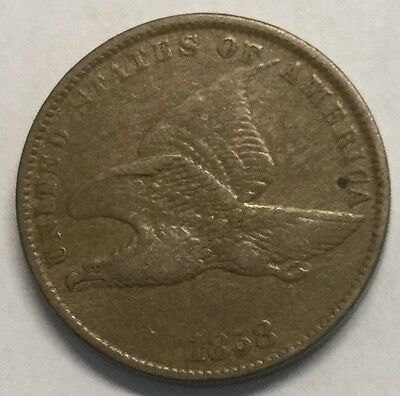 1858 1C Flying Eagle Cent/ Small Letters- VF#