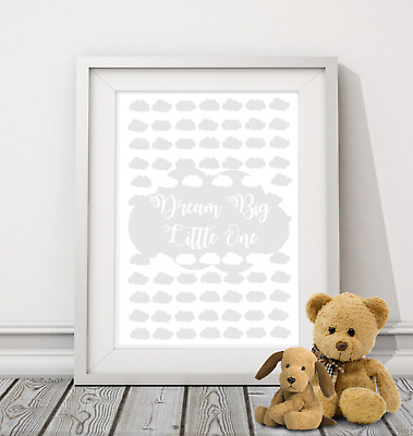 Dream Big Little One A4 Print nursery children's quote baby kids wall art