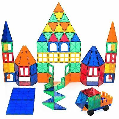 Playbees 100 Piece Magnetic Building Toy Blocks, Vivid Clear Colors 3D Tiles New