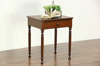 Country Sheraton 1830's Antique Walnut End or Lamp Table, Nightstand
