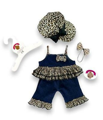 Teddy Bear Clothes fits Build a Bear Teddies Denim Leopard and Bow Set Outfit