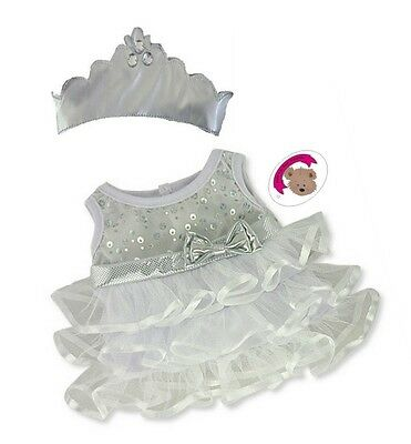 Teddy Bear Clothes fits Build a Bear White Frilly Princess Dress Pants and Crown