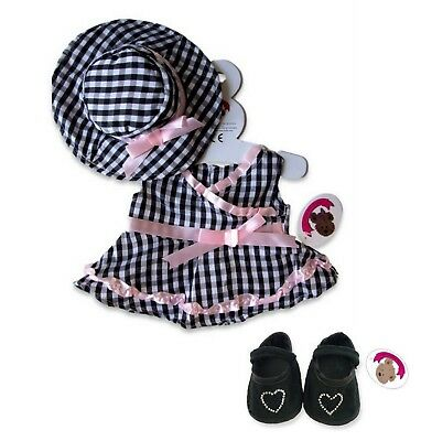 Teddy Bear Clothes fit Build a Bear Teddies Black & White Gingham Dress and Hat