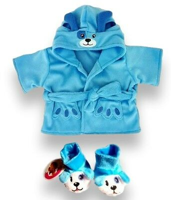 Teddy Bear Clothes fit Build a Bear Teddies Blue Puppy Robe & Slippers Clothing