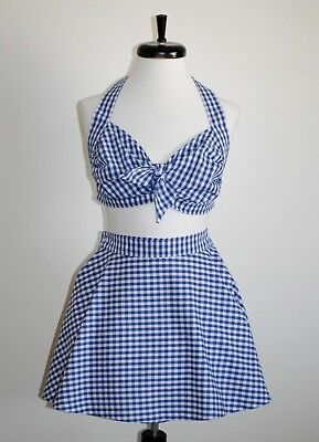 Vintage 1940s Rockabilly, Pinup Blue Gingham 2-Piece Swimsuit w/flared skirt