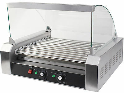 Commercial 30 Hot Dog 11 Roller Grill Cooker Machine W/ cover CE