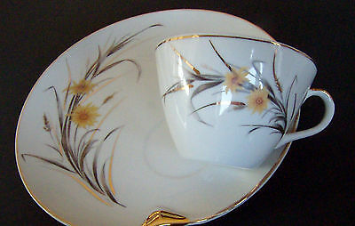 Original NAPCO  Hand painted Tea cup & Tray snack  Yellow flowers & Gray stalks