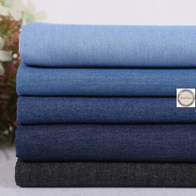 """Soft 100% Cotton Washed Denim Fabric Canvas Jeans Dress Material 59"""" Width Yard"""