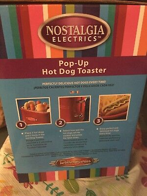 Nostalgia Electrics Retro Series Pop-Up Hot Dog Toaster  New
